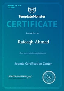 Joomla Certificate - Rafeeqh Ahmed 10312166