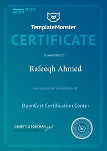 Opencart Certificate - Rafeeqh Ahmed 10312175