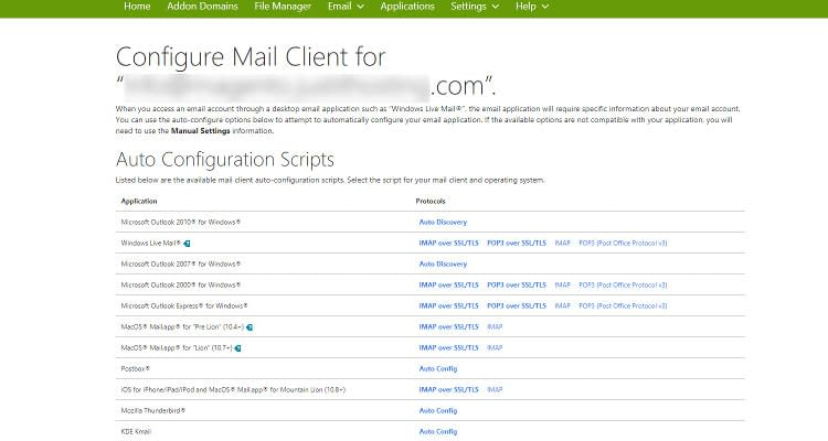 Fig : 10 Configure Email Client for cPanel Email