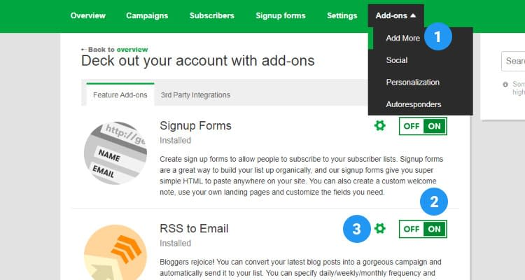 Fig. 02: Email Marketing - Create an eMail Campaign - RSS Feed
