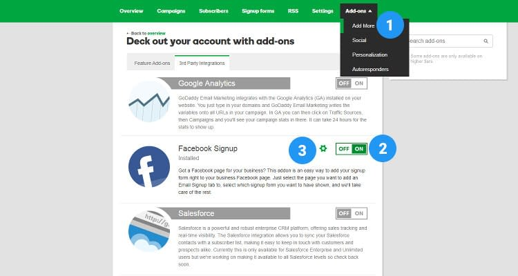 Fig. 02: Add Sign up form to Facebook page and capture leads