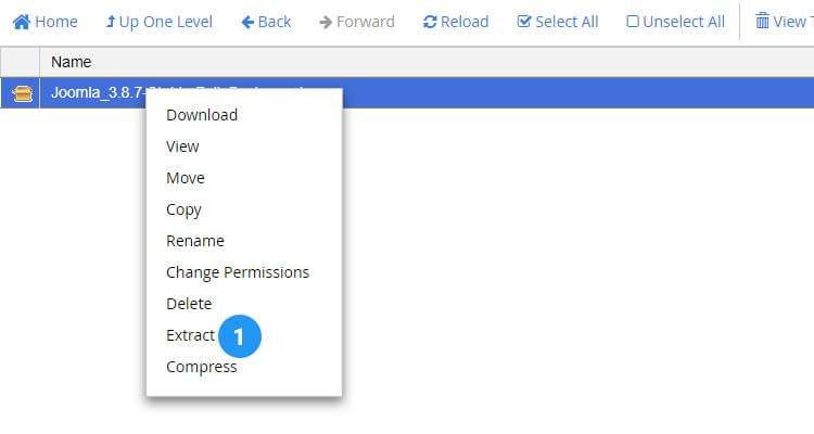 Fig. 03: How to Install Joomla manually in Cpanel