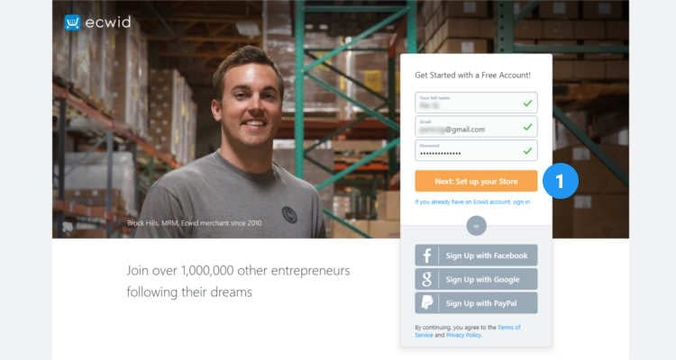 Fig. 02: How to start an Ecwid online store
