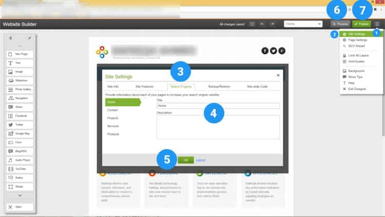 Fig. 02: How to add social media links and seo meta tags using website builder