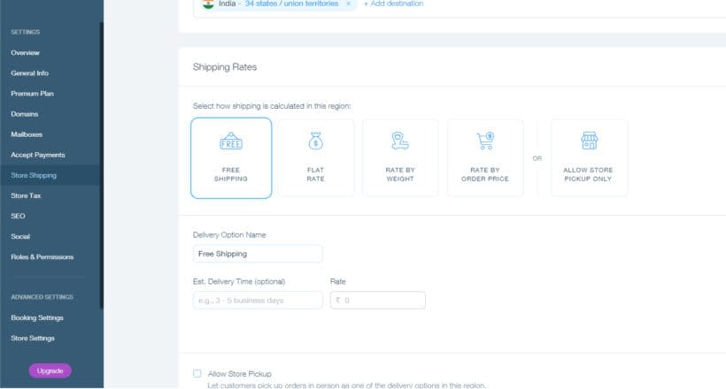 04 How to start a Wix online store Shipping