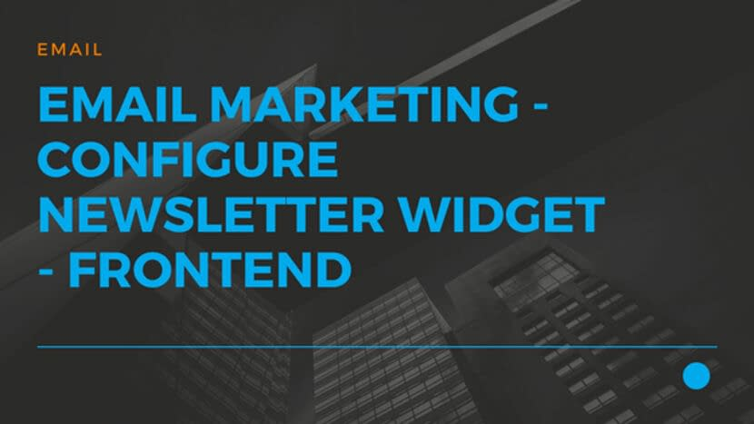 Email Marketing - Configure NewsLetter Widget - FrontEnd