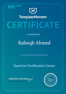 Opencart Certificate - Rafeeqh Ahmed 10312175