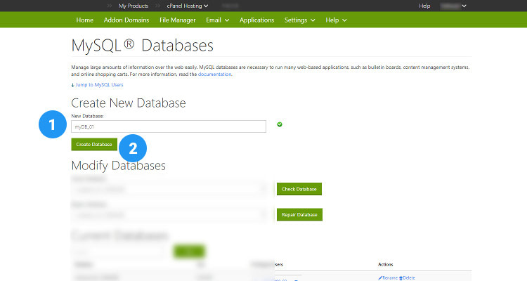 Fig 04 : How to Create a Database using cPanel