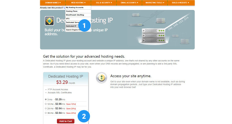 Fig 02: Add a Dedicated IP address