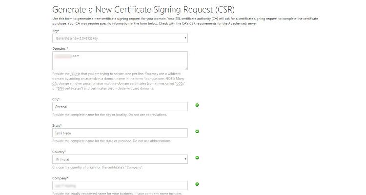 Fig. 05: Generate a Certificate Signing Request (CSR)