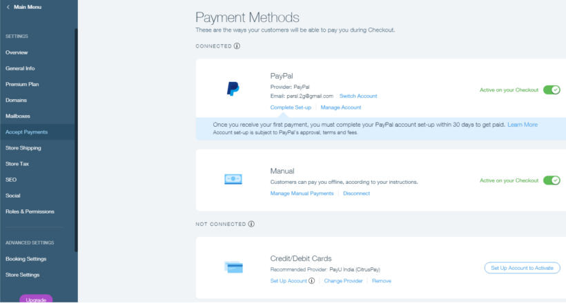 03 How to start a Wix online store Payments